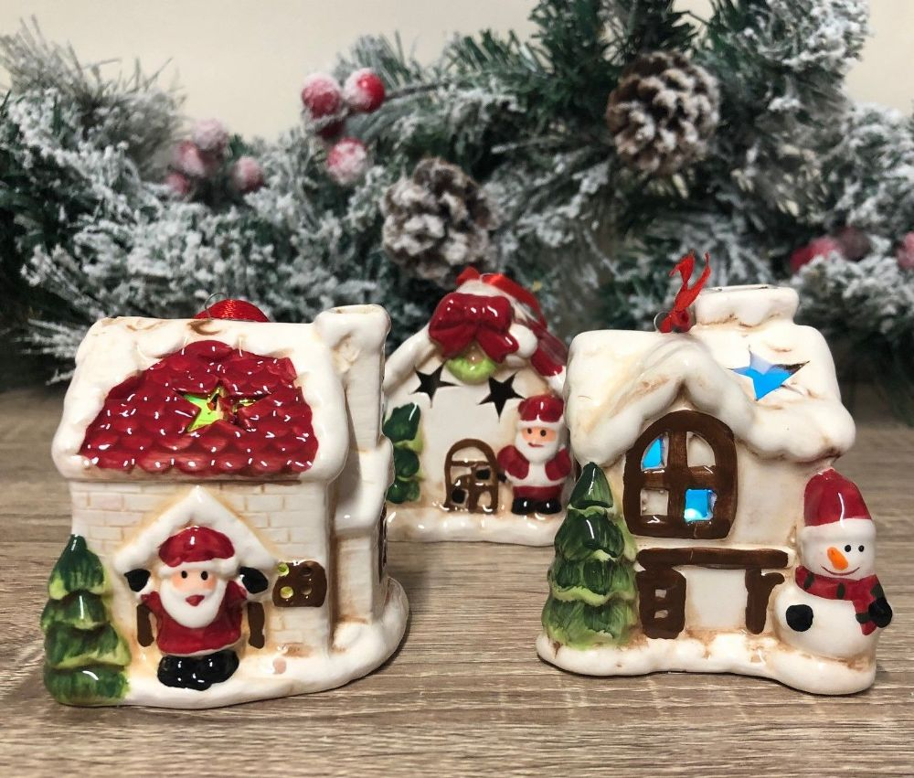 Christmas House Ceramic  Tree  LED Decoration - Set of 3